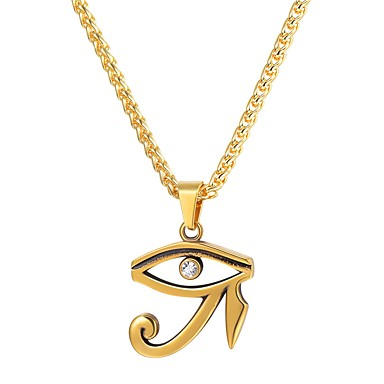ราคาถูก สร้อยคอ-สำหรับผู้ชาย สร้อยคอจี้ ดวงตาแห่งฮอรัส แฟชั่น ชาวอียิปต์ ฮิพฮอพ เหล็กกล้าไร้สนิม สีดำ สีทอง สีเงิน ดวงตาสีเงินแห่งฮอรัส ดวงตาสีทองแห่งฮอรัส 55 cm สร้อยคอ เครื่องประดับ 1pc สำหรับ ของขวัญ ทุกวัน