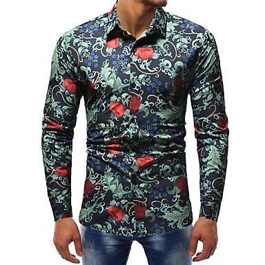 رجالي قميص قياس كبير نحيل الأعمال التجارية / أناقة الشارع طباعة ألوان متناوبة / حيوان, نادي أخضر XL / كم طويل