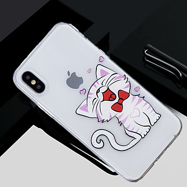غطاء من أجل Apple iPhone X / iPhone 8 Plus / iPhone 8 شفاف / نموذج غطاء خلفي قطة ناعم TPU