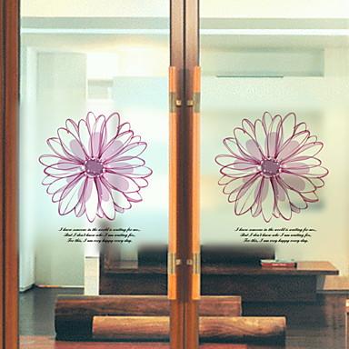 فيلم نافذة وملصقات زخرفة زهري وردة PVC ملصق النافذة