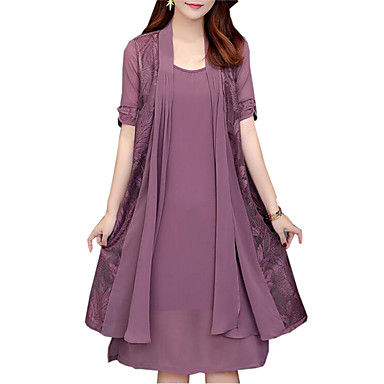 cheap Midi Dresses-Women's Plus Size Two Piece Dress Knee Length Dress - Short Sleeve Solid Colored Lace Spring Fall Daily Loose Black Purple Red Navy Blue L XL XXL XXXL XXXXL