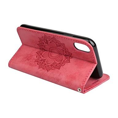abordables Coques d'iPhone-Coque Pour Apple iPhone X / iPhone 8 Plus / iPhone 8 Portefeuille / Porte Carte / Avec Support Coque Intégrale Mandala / Fleur Dur faux cuir