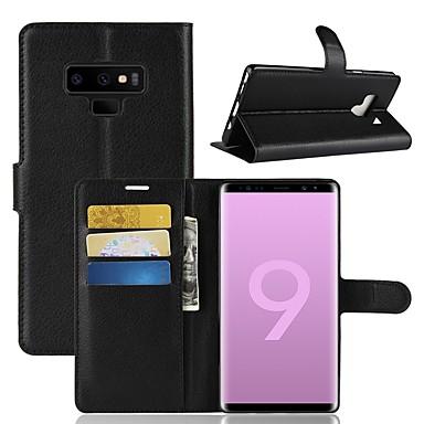 غطاء من أجل Samsung Galaxy Note 9 / Note 8 محفظة / حامل البطاقات / قلب غطاء كامل للجسم لون سادة قاسي جلد PU