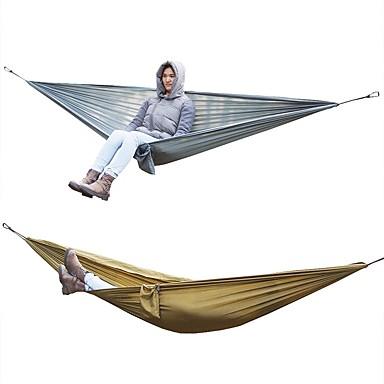 أرجوحة شبكية للتخييم في الهواء الطلق خفة الوزن التنفس إمكانية يمكن ارتداؤها نايلون المظلة إلى 2 الأشخاص تخييم السفر بني رمادي