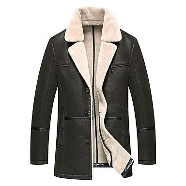 رجالي مناسب للبس اليومي عادية معطف فرو, لون سادة رقبة دائرية كم طويل فرو / قطن / كتان بني / أخضر / أسود