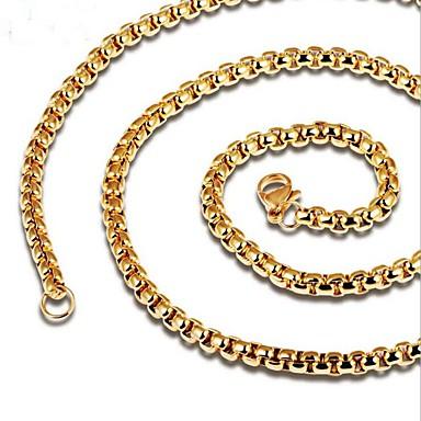 Недорогие Ожерелья-Муж. Цепочка Стильные Сеть моряков Креатив Мода Титановая сталь Золотой Черный 60 cm Ожерелье Бижутерия 1шт Назначение Повседневные