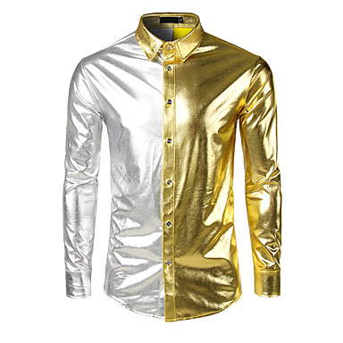 رخيصةأون قمصان رجالي-رجالي مناسب للحفلات / عمل / نادي ترف / أناقة الشارع / بانغك & قوطي بقع قطن قميص, ألوان متناوبة / كم طويل / الخريف