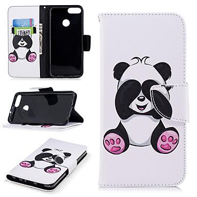 رخيصةأون Huawei أغطية / كفرات-غطاء من أجل Huawei Huawei P smart محفظة / حامل البطاقات / مع حامل غطاء كامل للجسم باندا قاسي جلد PU