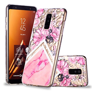 voordelige Galaxy A-serie hoesjes / covers-hoesje Voor Samsung Galaxy A6 (2018) / A6+ (2018) / A8 2018 Transparant / Patroon Achterkant Bloem / Marmer Zacht TPU