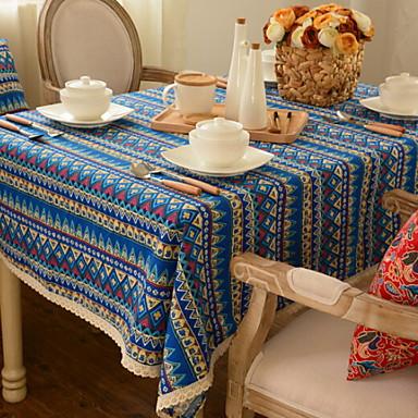 كلاسيكي قطن مربع قماش الطاولة مخطط الجدول ديكورات 1 pcs