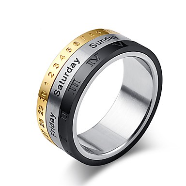 رخيصةأون خواتم-رجالي خاتم 1PC فضي سبيكة Circle Shape بانغك مناسب للبس اليومي مجوهرات دولاب الأبراج كوول