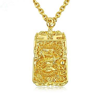 رخيصةأون القلائد-رجالي قلائد الحلي ستايل منقوش موضة مطلية بالذهب عيار 18 نحاس ذهبي 61 cm قلادة مجوهرات 1PC من أجل هدية مناسب للبس اليومي
