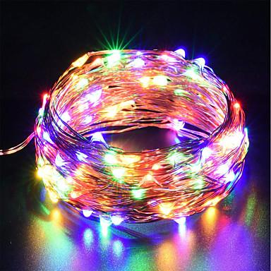 رخيصةأون شرائط ضوء مرنة LED-أضواء سلك usb الأسلاك النحاسية zdm الجنية 10 متر / 33 ft 100 المصابيح مع 7 لون مختلف rgb تغيير تلقائيا للماء starry أضواء حبل عيد الميلاد أضواء الشريط (التلقائي تغيير اللون)