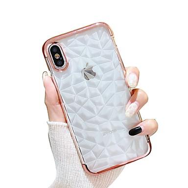 voordelige iPhone-hoesjes-hoesje Voor Apple iPhone X / iPhone 8 Plus / iPhone 8 Beplating / Transparant Achterkant Geometrisch patroon Zacht TPU