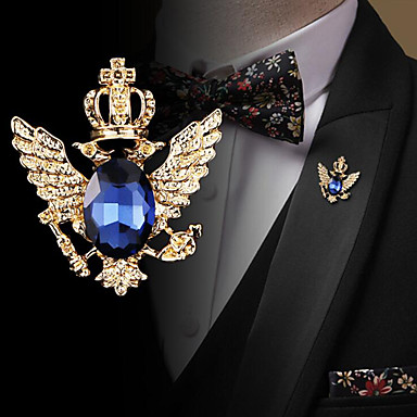 povoljno Broševi-Muškarci Kubični Zirconia Broševi Retro Sa stilom Moda Elegantno Uglađeni Broš Jewelry Crn Plava Za Vjenčanje Praznik