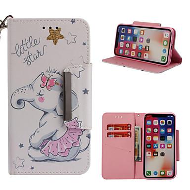 Недорогие Кейсы для iPhone 6-Кейс для Назначение Apple iPhone X / iPhone 8 Pluss / iPhone 8 Кошелек / Бумажник для карт / со стендом Чехол Слон Твердый Кожа PU