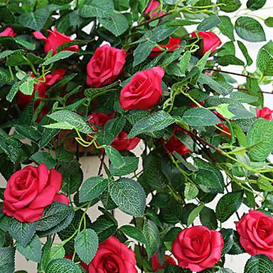 زهور اصطناعية 1 فرع كلاسيكي أوروبي النمط الرعوي الورود أزهار الحائط