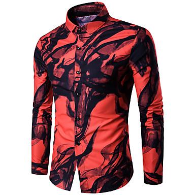 رجالي أساسي قطن قميص, هندسي / ترايبال نحيل / كم طويل