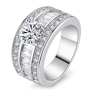 Women/'s Stainless Steel Round CZ Ring Size 5-10 Engagement Ring Band Wedding 198