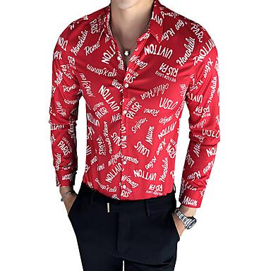 رخيصةأون قمصان رجالي-رجالي قميص, ألوان متناوبة ياقة كلاسيكية نحيل / كم طويل / الصيف