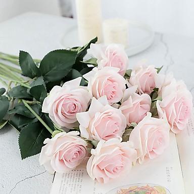 زهور اصطناعية 5 فرع كلاسيكي فردي أنيق النمط الرعوي الورود أزهار الطاولة