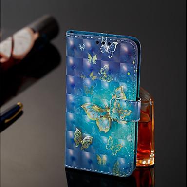 غطاء من أجل Samsung Galaxy J8 / J7 Duo محفظة / حامل البطاقات / مع حامل غطاء كامل للجسم فراشة قاسي جلد PU إلى J8 / J7 Duo / J6