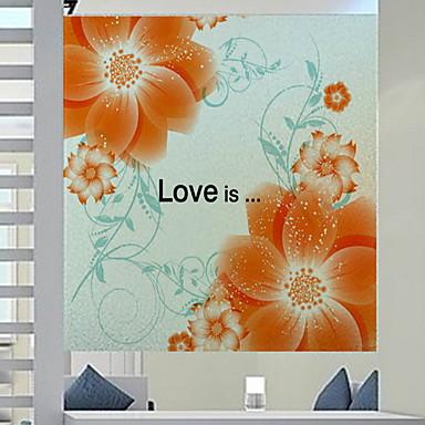 فيلم نافذة وملصقات زخرفة العادي ورد PVC ملصق النافذة / شفاف