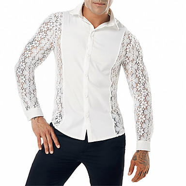 رخيصةأون قمصان رجالي-رجالي نادي عتيق / أناقة الشارع دانتيل / مقصوص قميص, لون سادة ياقة كلاسيكية / كم طويل