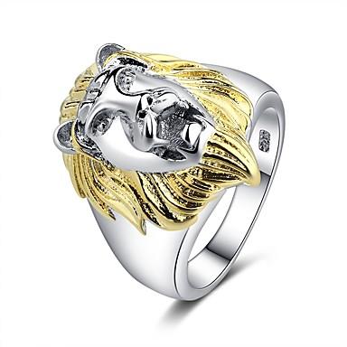 الزوجين خاتم 1PC ذهبي مطلية بالذهب عيار 18 نحاس مطلي بالبلاتينيوم سيدات شائع غلو الهالووين شارع مجوهرات كلاسيكي أشكال النحت أسد حيوان كوول