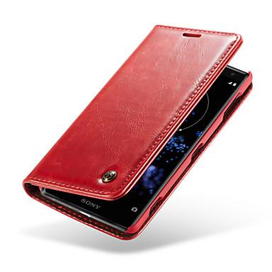 Недорогие Чехлы и кейсы для Sony-Кейс для Назначение Sony Xperia XZ2 Кошелек / Бумажник для карт / со стендом Чехол Однотонный Твердый Настоящая кожа