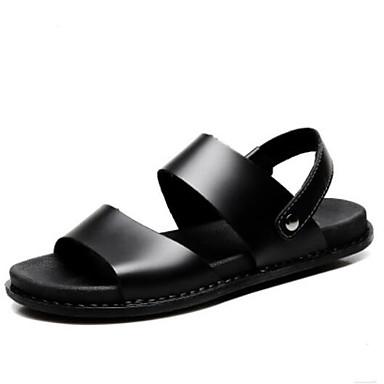 Недорогие Мужские сандалии-Муж. Комфортная обувь Наппа Leather Лето Сандалии Черный / Коричневый