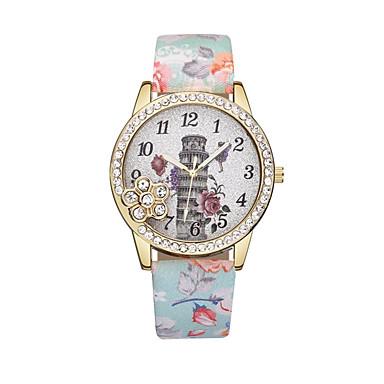 Dámské Náramkové hodinky Diamond Watch Křemenný Kůže Černá / Modrá / Červená Hodinky na běžné nošení Analogové dámy Květina Módní - Modrá Růžová Světle zelená