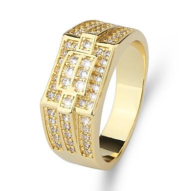 رجالي خاتم خاتم الخاتم 1PC ذهبي نحاس تقليد الماس 24K Gold Plated ترف كلاسيكي موضة زفاف حفلة ليلية مجوهرات كلاسيكي ستايل ثمين كوول
