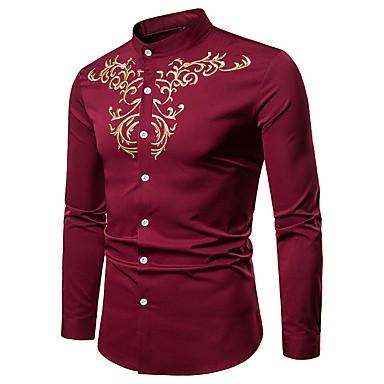رخيصةأون قمصان رجالي-رجالي عتيق / بوهو مطرز قميص, ترايبال رقبة طوقية مرتفعة / كم طويل