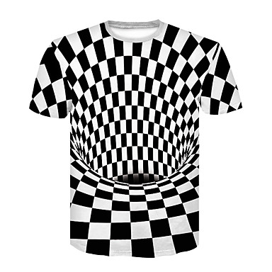 رجالي نادي أساسي / أناقة الشارع طباعة تيشرت, هندسي / 3D رقبة دائرية أسود و أبيض / كم قصير / الصيف