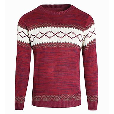 بالغين M / L / XL أسود / أبيض / أحمر رقبة دائرية بوليستر, جاكيت صوف عادية عادي كم طويل هندسي أساسي عيد الميلاد / مناسب للبس اليومي رجالي