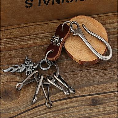 سلسلة المفاتيح صليب جمجمة عتيق موضة خواتم مجوهرات بني / أسود من أجل مناسب للبس اليومي شارع