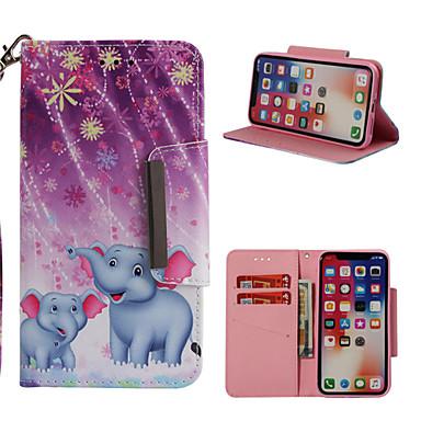 Недорогие Кейсы для iPhone 7-Кейс для Назначение Apple iPhone X / iPhone 8 Pluss / iPhone 8 Кошелек / Бумажник для карт / со стендом Чехол Слон Твердый Кожа PU