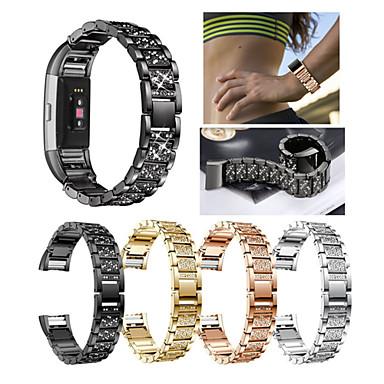 voordelige Smartwatch-accessoires-Horlogeband voor Fitbit Charge 2 Fitbit Sportband / Sieradenontwerp Roestvrij staal / Keramiek Polsband