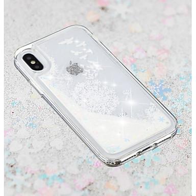 Недорогие Кейсы для iPhone X-Кейс для Назначение Apple iPhone X / iPhone 8 Pluss / iPhone 8 Движущаяся жидкость / Прозрачный / С узором Кейс на заднюю панель одуванчик / Цветы Мягкий ТПУ
