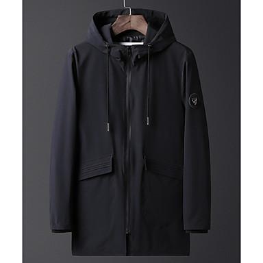 رجالي أسود أزرق البحرية 5XL 6XL 8XL معطف طويلة أساسي عصري مع قبعة / كم طويل