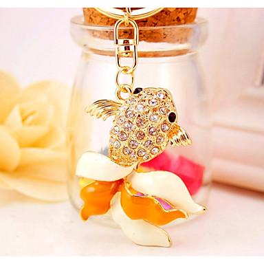 سمك سلسلة المفاتيح ذهبي غير منتظم حيوان تقليد الماس سبيكة غطاءمغطى بالالماس / حجر كريم موضة من أجل هدية مواعدة