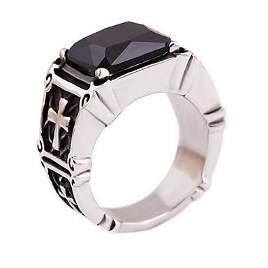 رخيصةأون خواتم-رجالي خاتم خاتم الخاتم ياقوت إصطناعي 1PC أسود الصلب التيتانيوم مستطيل أنيق كلاسيكي مناسب للبس اليومي مجوهرات قديم تنين