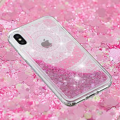 Недорогие Кейсы для iPhone 7 Plus-Кейс для Назначение Apple iPhone X / iPhone 8 Pluss / iPhone 8 Движущаяся жидкость / Прозрачный / С узором Кейс на заднюю панель Мультипликация / Кружева Печать / Цветы Мягкий ТПУ