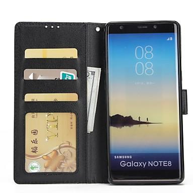 Недорогие Чехлы и кейсы для Galaxy Note 4-Кейс для Назначение SSamsung Galaxy Note 8 / Note 5 / Note 4 Кошелек / Бумажник для карт / со стендом Чехол Однотонный Твердый Кожа PU