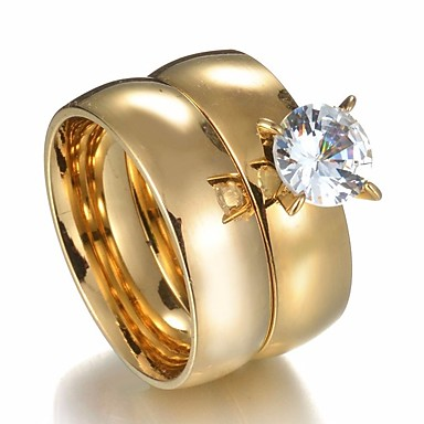 Couple S Couple Rings 2pcs Gold Steel Stainless Round Ladies Stylish Simple Wedding Gift Jewelry Classic Solitaire Crown 6866416 2020 6 29