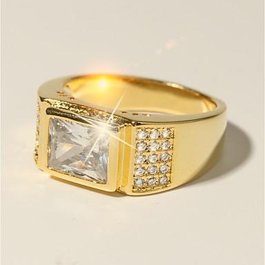 povoljno Prstenje-Muškarci Prsten 1pc Zlato mesing Imitacija dijamanta 24K Gold Plated Kvadrat Klasik Vjenčanje Moda Vjenčanje Formalan Jewelry Klasičan Sa stilom Pasijans vjerovati Cool