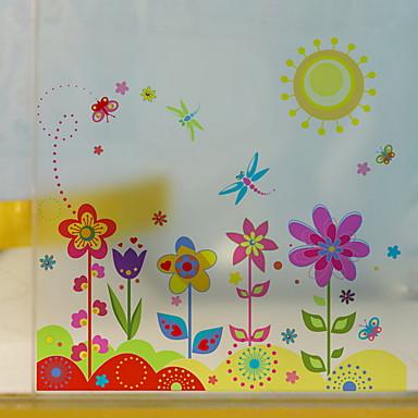 فيلم نافذة وملصقات زخرفة منقوشة ورد / شخصية PVC جميل