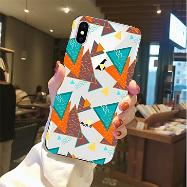 voordelige iPhone 6 hoesjes-hoesje Voor Apple iPhone X / iPhone 8 Plus / iPhone 8 Transparant / Patroon Achterkant Geometrisch patroon Zacht TPU