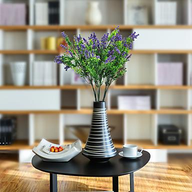 زهور اصطناعية 1 فرع كلاسيكي زهري النمط الرعوي نباتات أزرق فاتح أزهار الطاولة